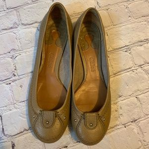 Chloe Taupe Leather Flats 7.5